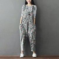 Female Denim Jumpsuits 2017 Casual Vintage Pattern Floral Jean Overalls Large Size Ankle Length Bib Wide