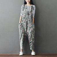 Female Denim Jumpsuits 2017 Casual Vintage Pattern Floral Jean Overalls Large Size Ankle Length Bib Wide