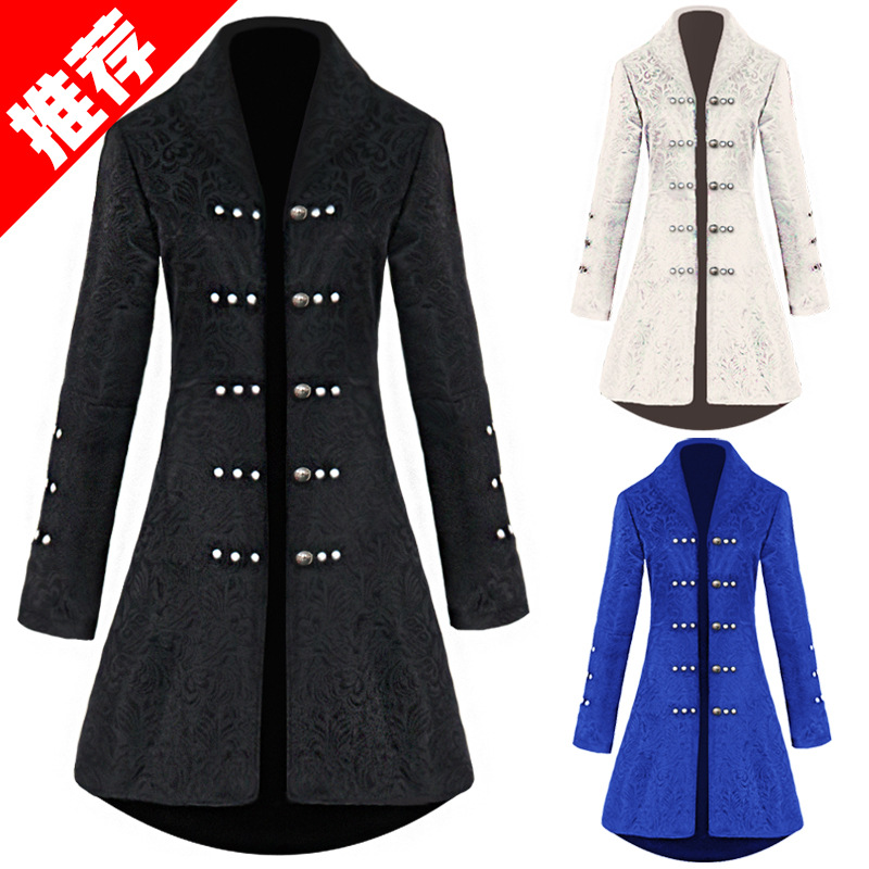 2019 Victoria Edwardian Steampunk Trench Coat Frock Outwear Vintage Prince Overcoat Medieval Renaissance Jacket Cosplay Costume