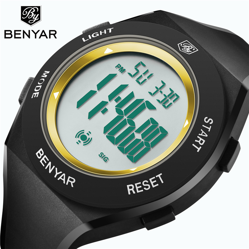Benyar Electronic LED watch fashion sport waterproof men's watch digital display Luminous clock Silica gel children's wirstwatch new fashion silica gel electronic digital touch screen led watch