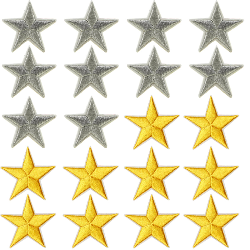 10pcs/lot Mini silver /gold Metallic Iron 5 Star ...