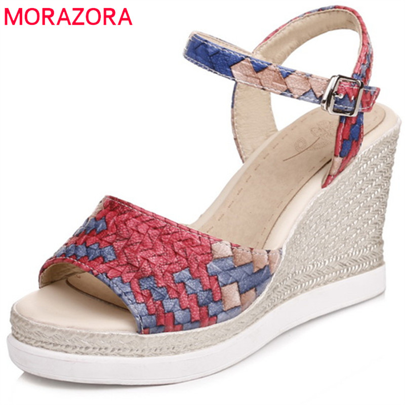 MORAZORA 2018 big size 33-43 summer fashion women sandals sweet peep toe casual shoes simple buckle mixed colors wedges shoes summer new casual flat women sandals fashion wedges mixed colors women sandals comfortable peep toe sandalias woman shoes mujer