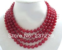 Wholesale price FREE SHIPPING AD 70 Longest Natural 8mm Round Red Jade Necklace!