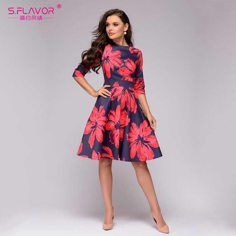 S. FLAVOR женское короткое платье с принтом красных цветов на осень и зиму, модное Повседневное платье трапециевидной формы, элегантное платье с рукавом 3/4, vestidos