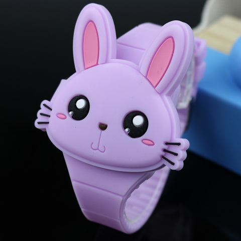 Lovely Rabbit Cartoon Children Watches Flip Cover Rubber Electronic Kids Watch for Boy Student Girls Clock Reloj Infantil Saati Islamabad