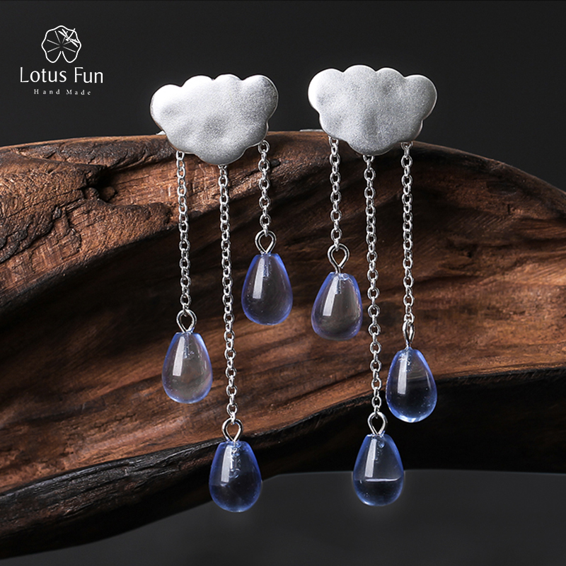 Lotus Fun 925 Sterling sølv dingle dråpeøreringer for kvinner Crystal Cloud Rain Tassel Earings Minimalistiske smykker Valentinsdag