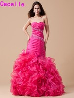2017 Elegant Fuchsia Mermaid Long Prom Dresses Sweetheart Beaded Pleats OrganzaTeens Formal Prom Gowns Classic Custom Made Sale