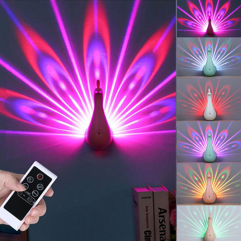 Steady 3d Led Projection Lamp Peacock Shape Remote Control Night Wall Light Lamp Colorful Led Night Light For Home Decoration Bedroom Led Lamps