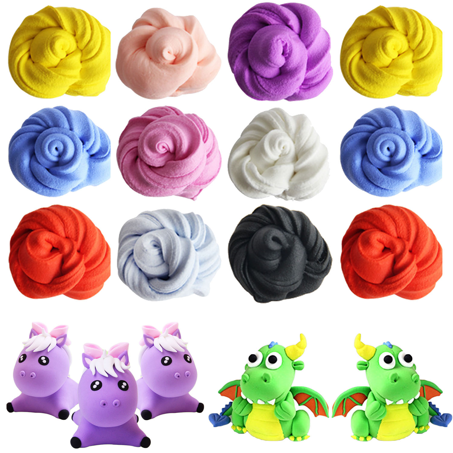 6 PCS Assorted Colors Soft Crystal Kids Plasticine Slime Putty Toy Clay Rubber Mud Set For DIY Crafts School Projects