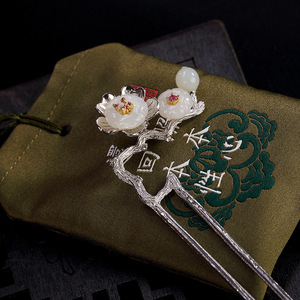 Image 2 - Naturalny nefryt Vintage kwiat śliwy kwiatowa do włosów kij 925 Sterling Silver szpilka wsuwka akcesoria artystyczne