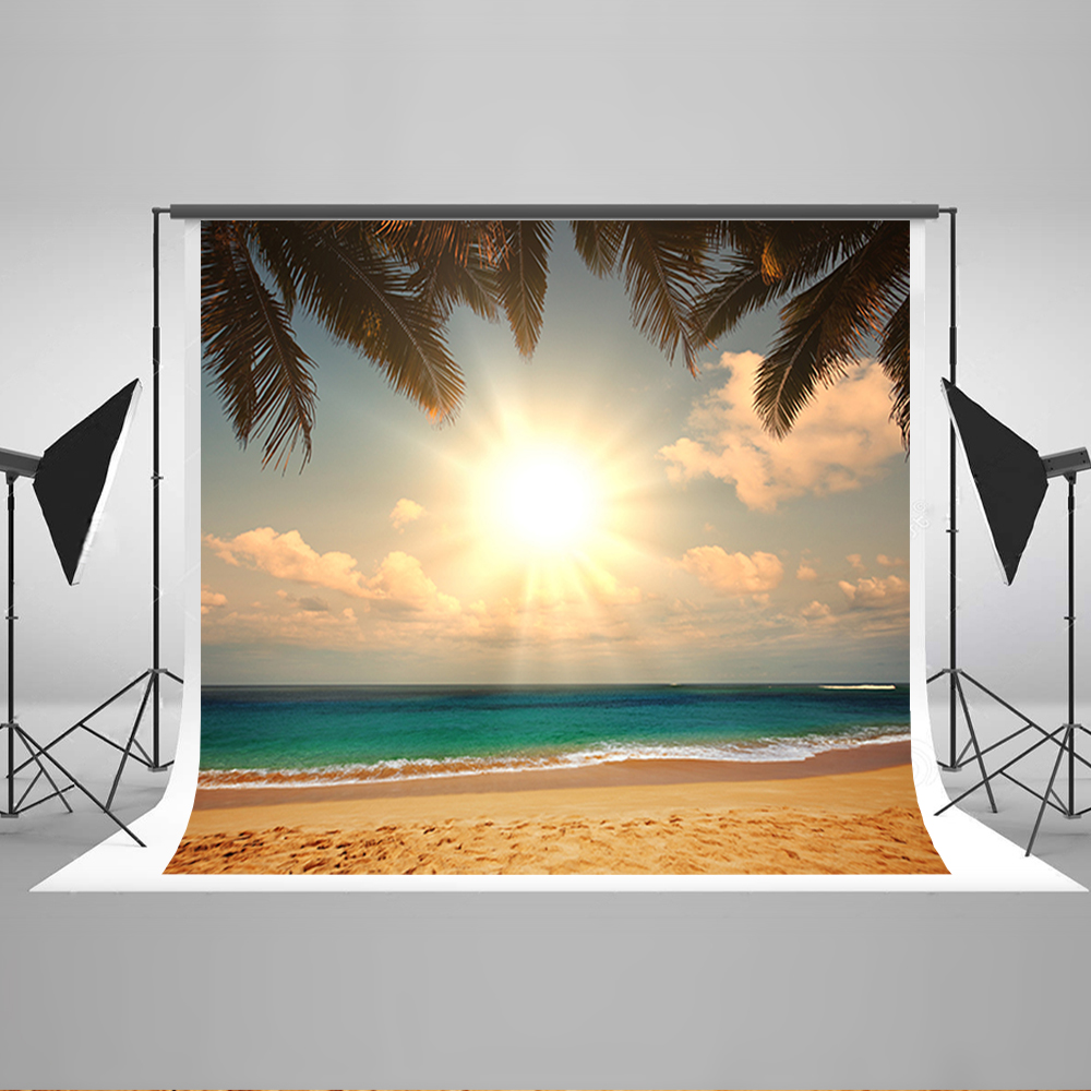 Wedding Backdrops Sea Sunshine Beach Art Background Photo Sky White Cloud Coconut Tree Background for Photographic Studio blue sky white clouds beach coconut tree backdrops fotografia fundo fotografico natal background photograph