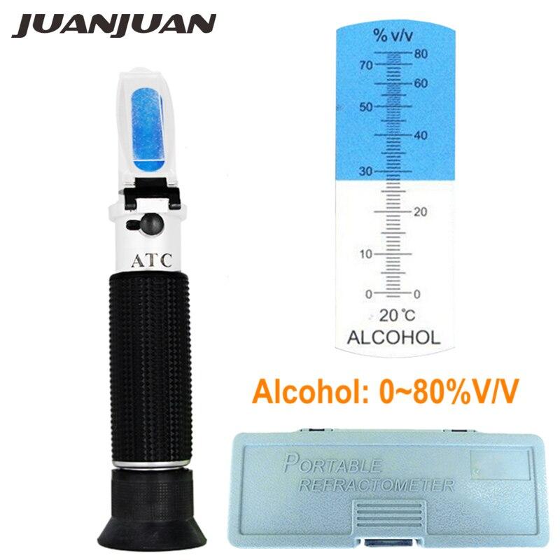 Portable De Poche Réfractomètre pour L'alcool Content Tests 0-80% Gamme Construit en ATC avec la boîte de détail 34% off