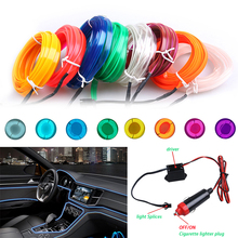 1m/3m/5m Car 12V LED Cold lights Flexible Neon EL Wire Auto Lamps on Car Cold Light Strips Line Interior Decoration Strips lamps