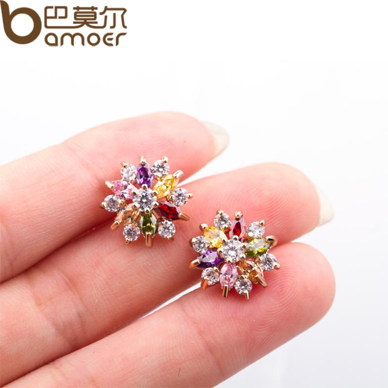 Bamoer Gold Color Star Stud Earrings With Multicolor Zircon Stone For Women Birthday Gift Jewelry Jie018 In From Accessories On
