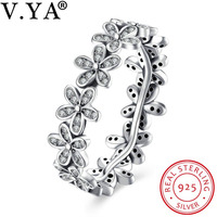 V YA 100 925 Sterling Silver Jewelry For Woman Flower Rings For Women Female Trendy Finger
