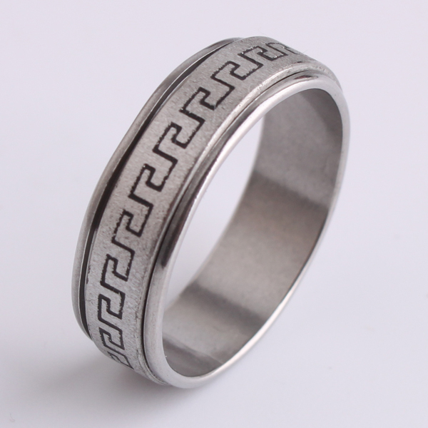 free shipping 7mm frosted Great Wall pattern Double layer Rotation 316L Stainless Steel  ...