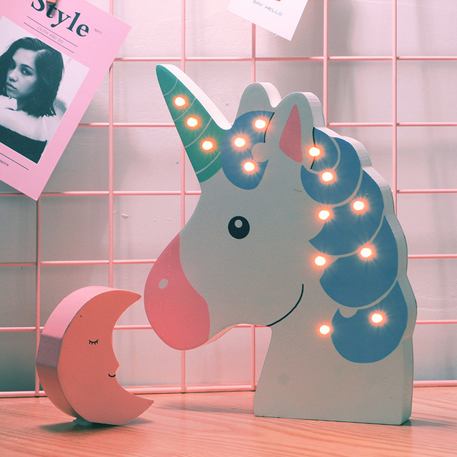 Wooden Unicorn LED Lamp Pink Home Decoration For Kids Scandinavia Style Home Decor Light Wall Decoration For Children Bedroom