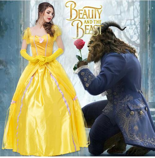 Drop shipping Beauty and the Beast princess belle role-playiinh adult Cosplay Costume Halloween party hot selling Suit Dress
