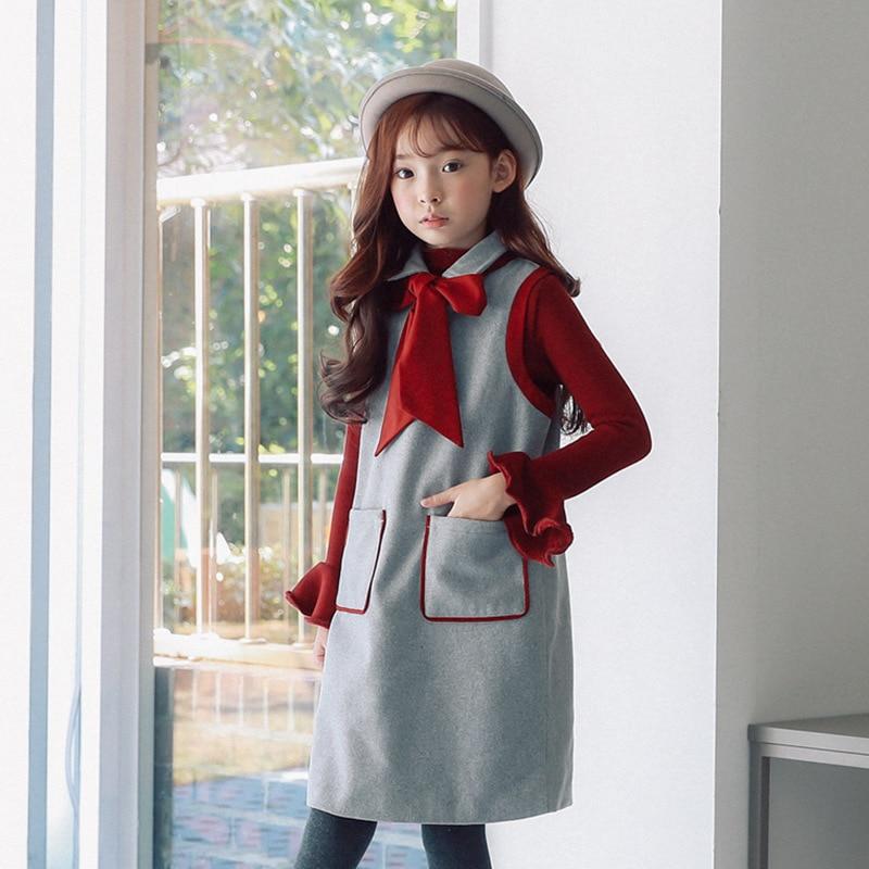 Autumn Winter girl's princess dress kid's Children Retro royal woolen vest dress with big bowknot preppy clothing for Girls цена 2017