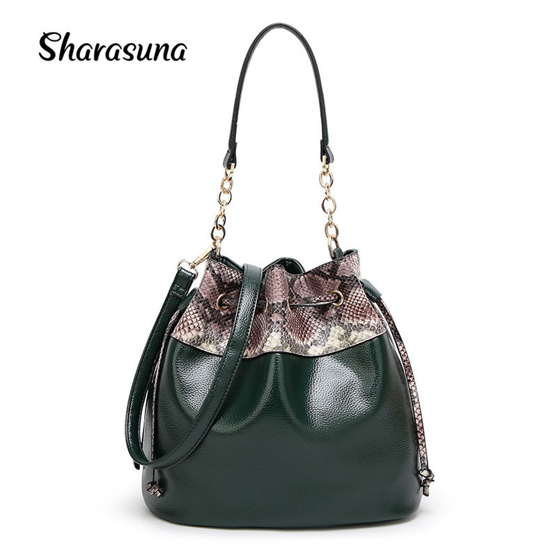 2018 new winter fashion women leather handbag bucket bag snake Single Shoulder Bag Messenger Bag