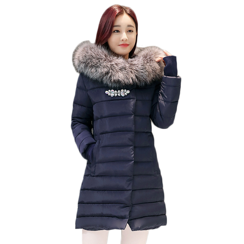 2017 New Winter Fashion Cotton Coat Female Slim Warm Hooded Parkas Female Overcoat Glooves Women Cotton padded Jacket 2017 new winter fashion cotton coat female slim warm hooded parkas female overcoat high quality women cotton padded long jacket