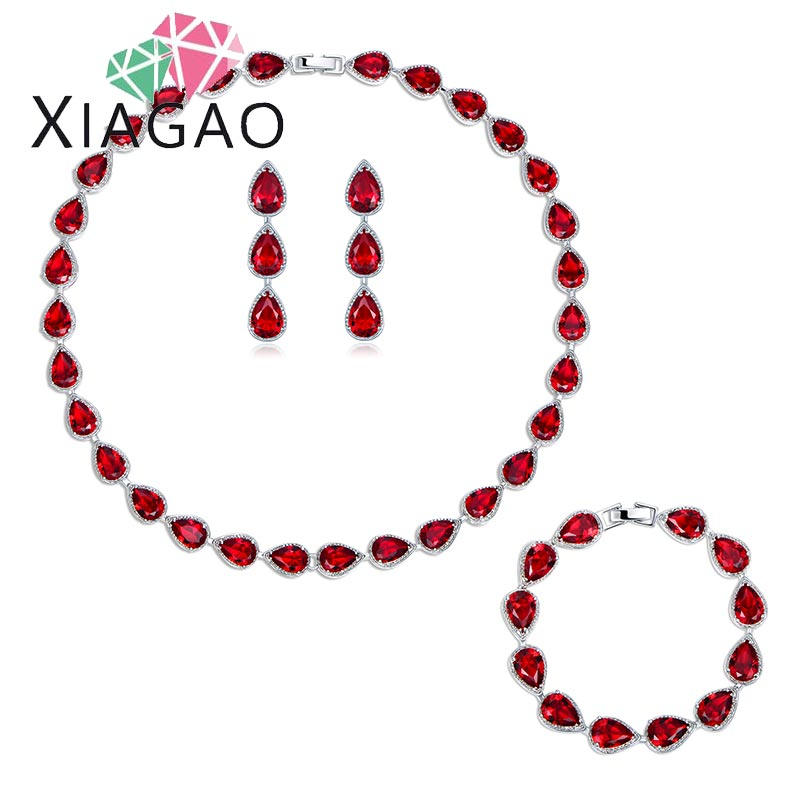 XIAGAO Luxury Bride Classic Rhinestone Crystal Choker Necklace Earrings and Bracelet Wedding Jewelry Sets Wedding Accessories