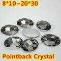Diamante negro Forma Oval de Cristal Extravagante Stone Point Voltar Vidro Pedra Para A Jóia DIY Accessory.10 * 14mm 13*18mm 18*25mm 20*30mm