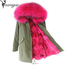 YOUMIGUE Winter Parkas Women Army Black Green Parka Coats Real Large Raccoon Fur Collar Fox Fur Lining Hooded Outwear Free DHL