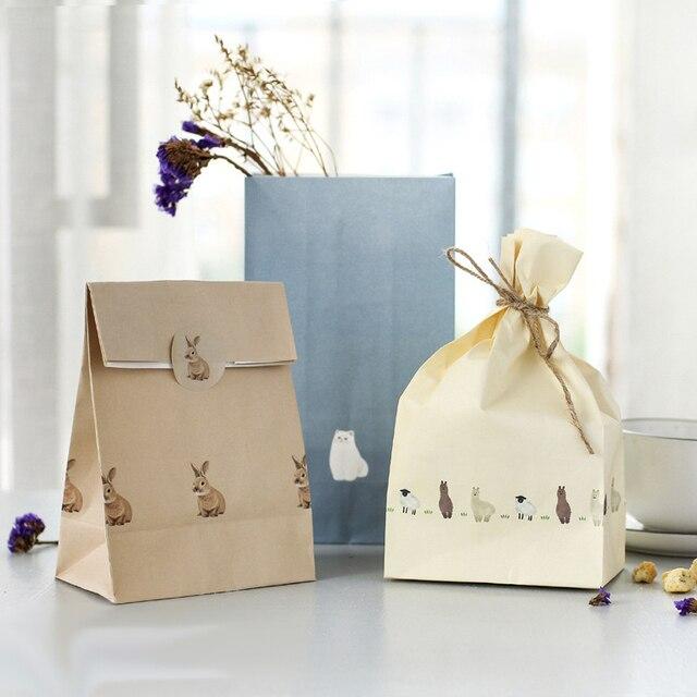 819faa968 24 sets 3 bolsa de papel de estilo ovejas conejo gato diseño celebración  fiesta de cumpleaños