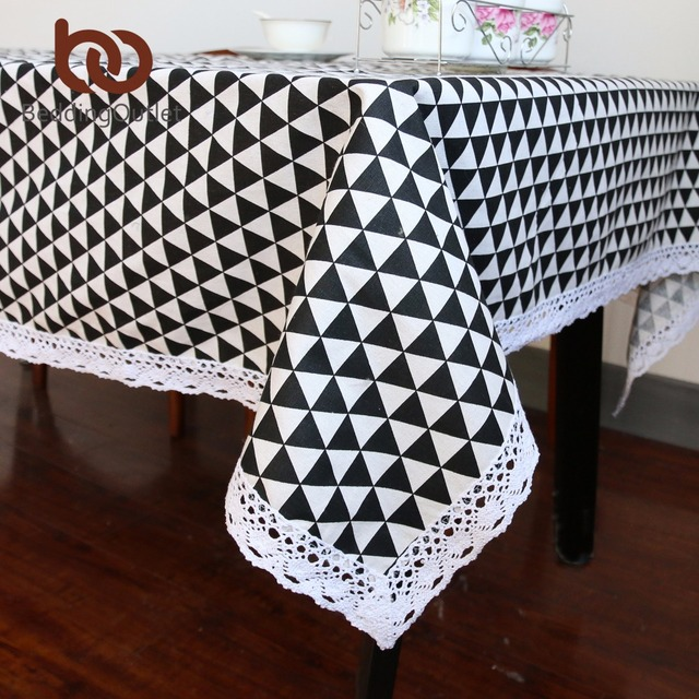 Beddingoutlet Black Triangle Print Tablecloth Cotton Linen Dinner Table Cloth Macrame Decoration Lacy Cover Europe