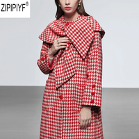 2018 New Winter Fashion Loose Plaid Shawl High Quality Fashion Elegant Shawl O Neck Single Breasted Women Plaid Wool Coat C2614