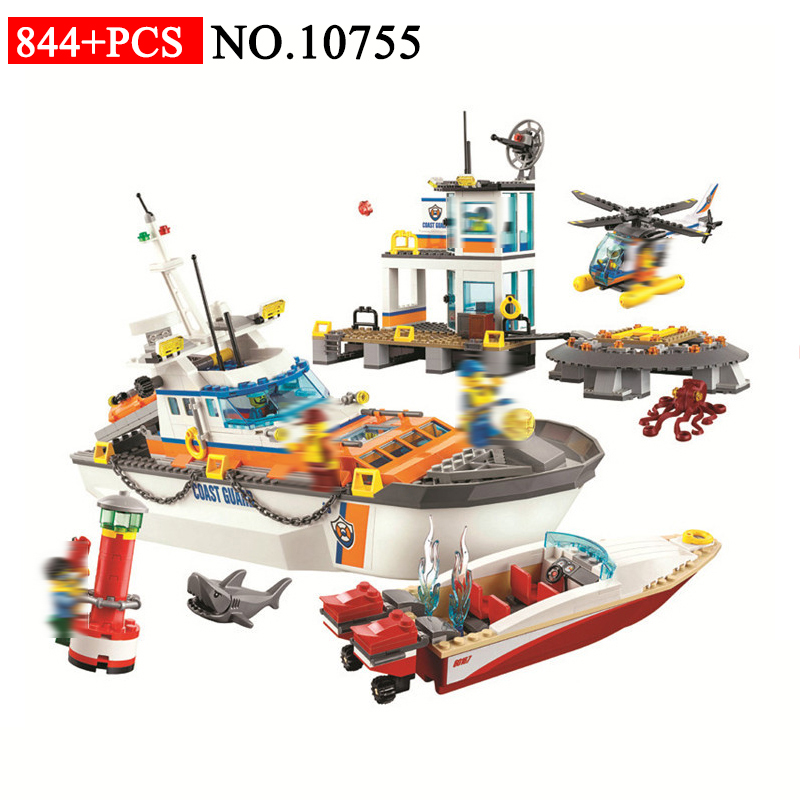 BELA 10755 Coast Guard Headquarters Building Blocks Compatible with 60167 City Helicopter Ship Car Shark Tos