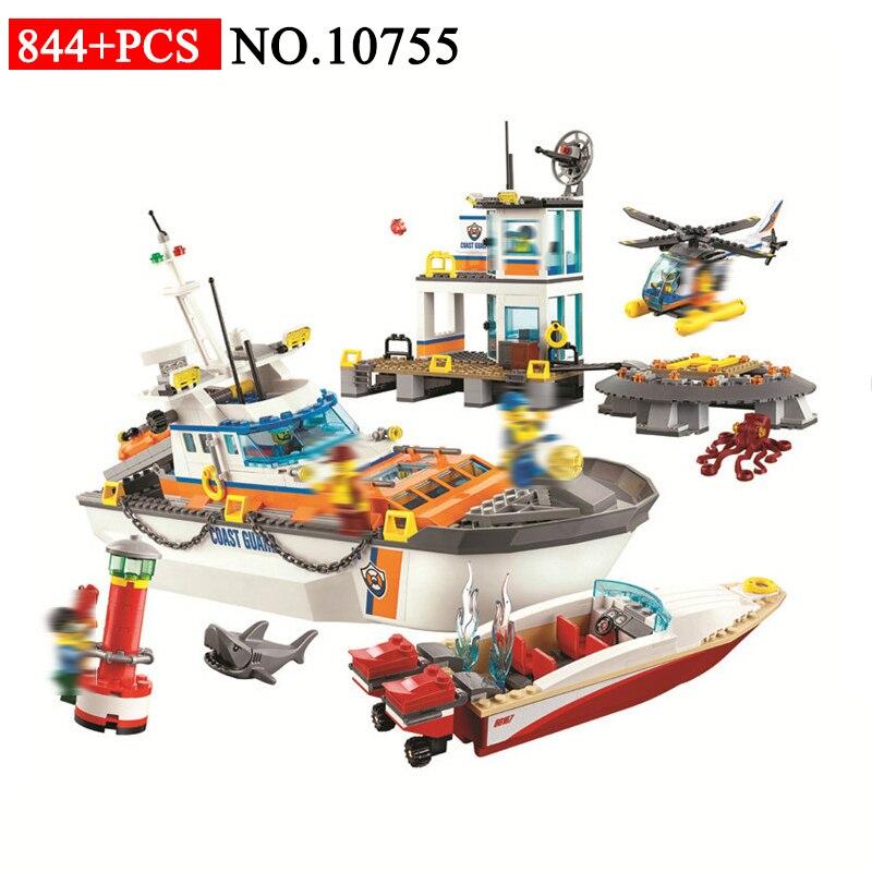 BELA 10755 quartiers généraux de la garde côtière blocs de construction compatibles avec 60167 ville hélicoptère bateau voiture requin Tos pour les enfants