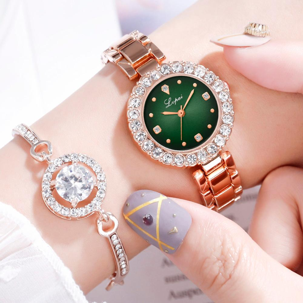 2019 Fashion Gold Lady Wristwatch Luxury Simple Women Bracelet Watches Casual Stylish Female Gift Clock 2 Pcs Set Ulzzang Style