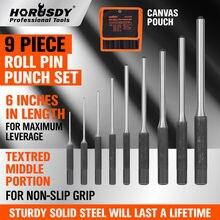 HORUSDY 9Pcs Professional Roll Pin Spring Punch Set Gun Bolt Catch Up Case Tool Pins Grip Kit