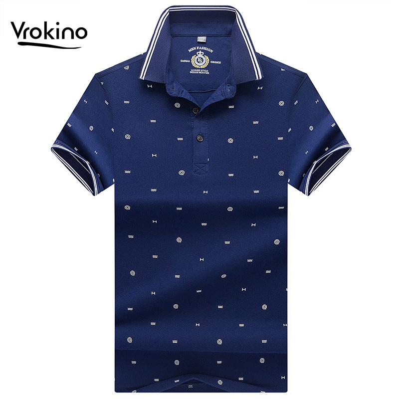 VROKINO 2019 New Listing Men's Business Casual Summer   POLO   Shirt High Quality Short Sleeve Cotton Breathable Printed   Polo   Shirt