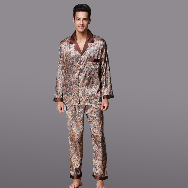 Autumn Winter Coffee Men Silk Pajamas Set Chinese Traditional Pyjamas Suit 2PCS  Sleepwear Bath Gown Size L XL XXL b5f1a214b