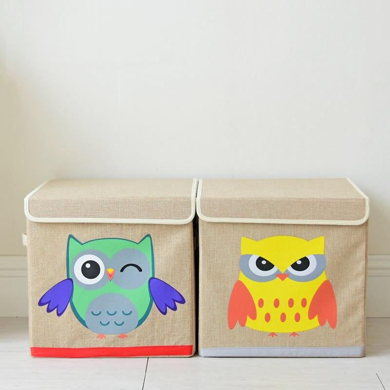Japon Style hibou dessin animé boîtes de rangement tissu enfants chambre vêtements jouets avec couvercle pliant boîte de tri