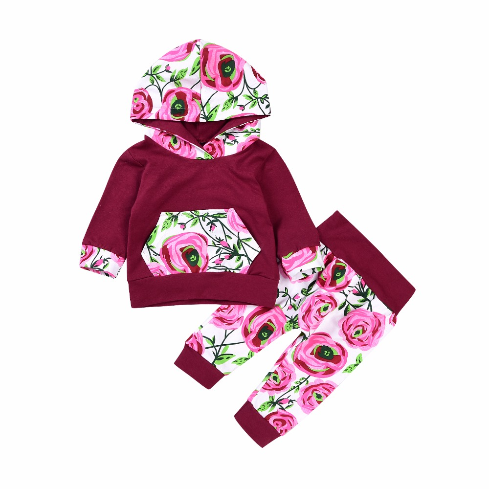 Newborn Baby 2Pcs Jumper Hooded Sweatshirt Tops+Floral Pants Outfit Spring Fall Autumn Kids Infant Baby Girls Pocket Clothes Set