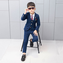 2019 New 3PCS Kids Plaid Wedding Blazer Suit Flower Boys Formal Tuxedos School Suit Kids Spring Clothes Children Suits 2019 boy blazer suits 3pcs jacket vest pants kids wedding suit flower boys formal tuxedos school suit kids spring clothing set