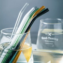 6 Pcs/ lot Glass Straws Color Random Transparent Cup Straight Curved Straw Water Juice Drink Tube Stirring Rod(China)