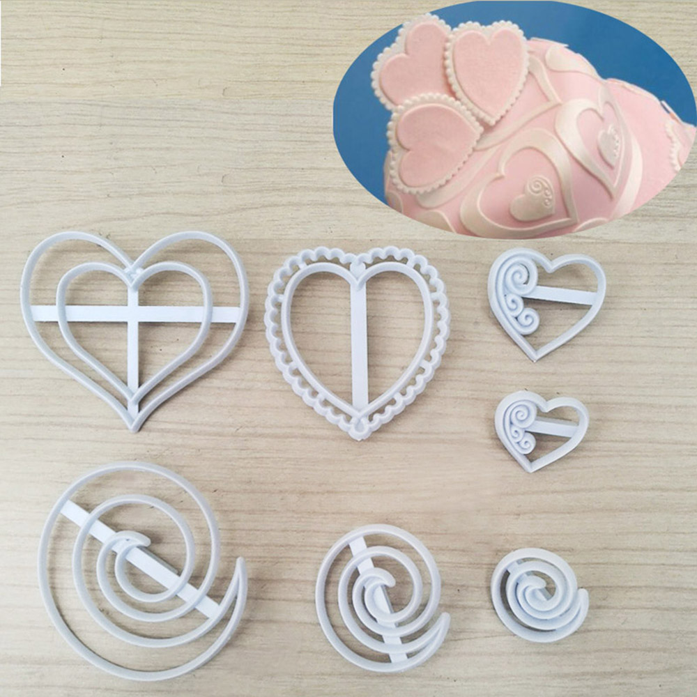 Creative Lovely Biscuit Cutting Molds 7pc Various Lace Heart Frame Plastic Cookie Cutter Decorating Baking Tool Kitchenware