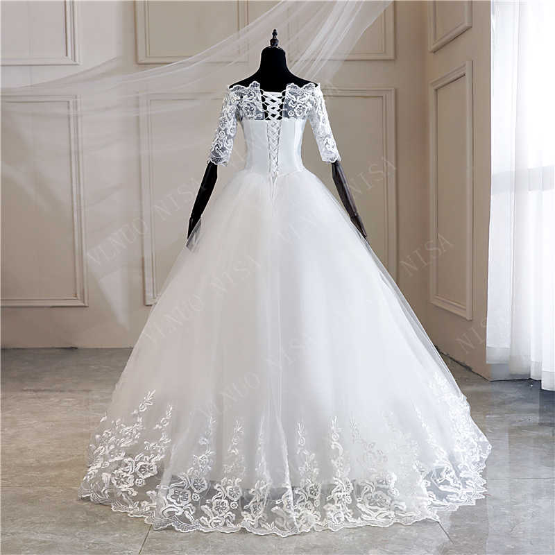 Meia manga vestidos de casamento 2020 novo coreano vintage rendas apliques bordados lantejoulas vestido de noiva vestido de noiva md