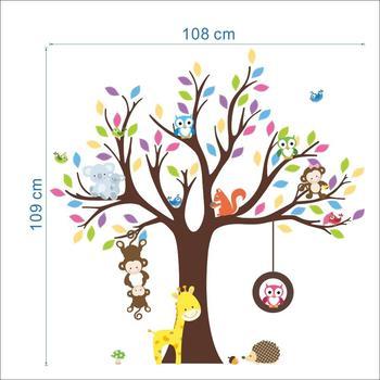 Tier Baum Wandaufkleber Affe Giraffe Eichhörnchen Aufkleber Tier Zoo  Tapeten Für Kinderzimmer Dekoration Kinder Mädchen Geschenke