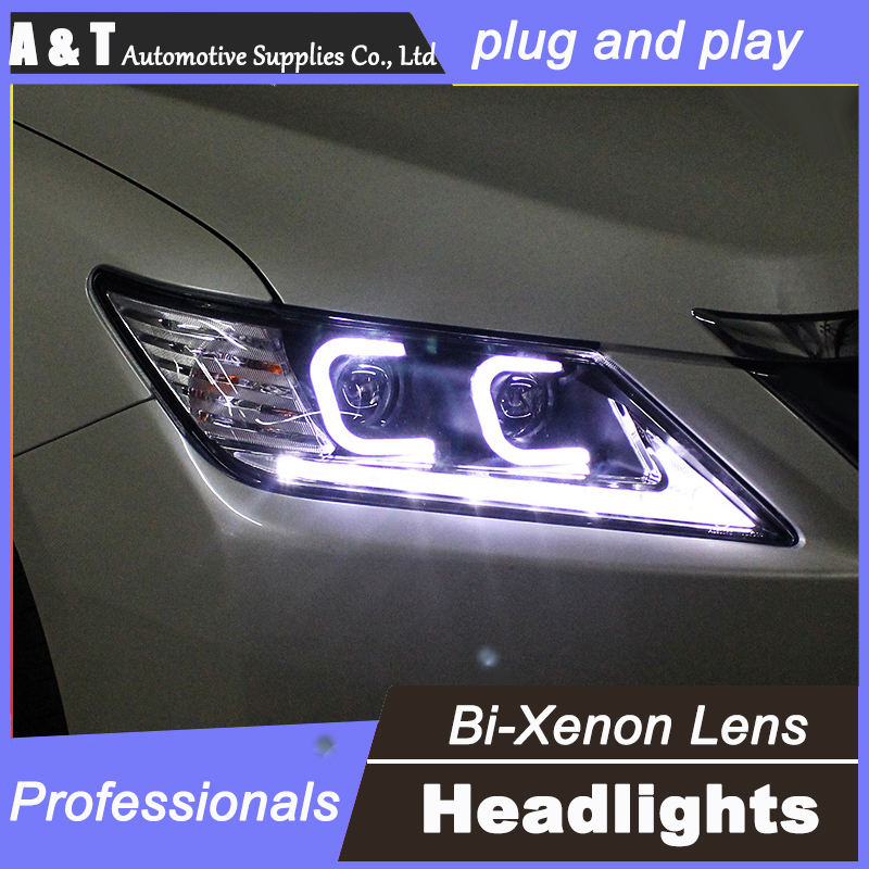 Car styling For Toyota CAMRY headlight assembly 2012-2014 For CAMRY LED light angel eyes bi xenon lens h7 with hid kit 2pcs. 1pc 2 5 hid xenon ultimate bi xenon projector lens parking car styling headlight diy lamp for h1bulb with shrouds h4 h7 socket