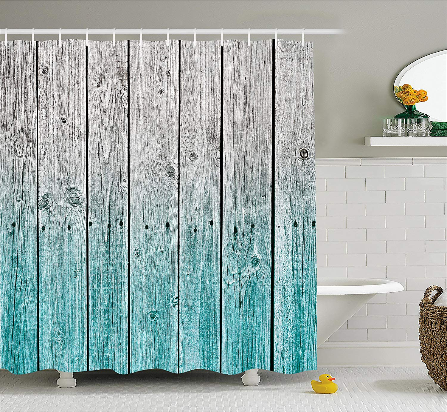 rustic shower curtain wood panels background with digital tones effect country house image