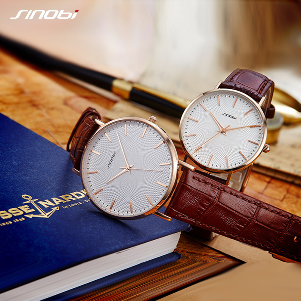 2PCS Hot Sale SINOBI Couple Watch Simple Elegant Grain Printed Leather Stainless Steel Men Wristwatch Women Ladies Lovers Watch