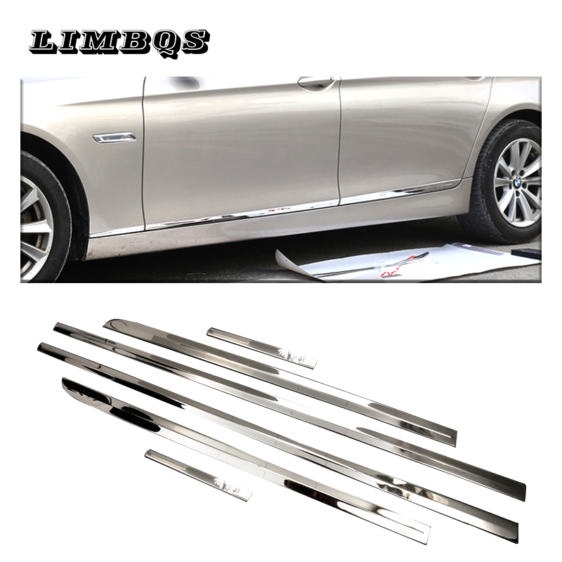 6 Pcs/set Stainless steel Chrome Car Side Door Body Strips Trim Cover For BMW 5 Series F10 F11 2010-2016 Auto Accessories6 Pcs/set Stainless steel Chrome Car Side Door Body Strips Trim Cover For BMW 5 Series F10 F11 2010-2016 Auto Accessories