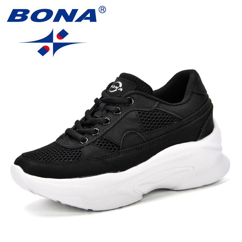 BONA 2019 Breathable Mesh Women Casual Shoes Vulcanize Female Fashion Sneakers Lace Up Comfortable Soft High