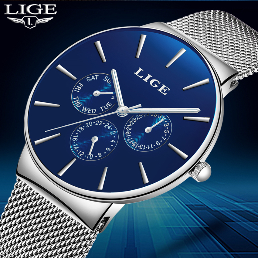 New luxury brand LIGE Men's Watches watch men Fashion sports quartz-watch stainless steel mesh strap ultra thin dial date clock fashion watch top brand oktime luxury watches men stainless steel strap quartz watch ultra thin dial clock man relogio masculino